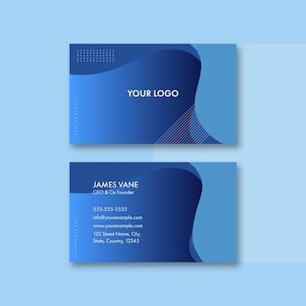 Design de cartão de visita abstrato azul com vista frontal e traseira.