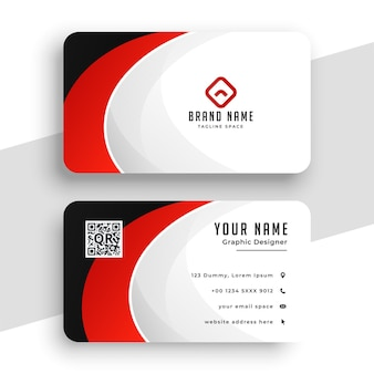 Design de cartão de visita abstrato com tema vermelho