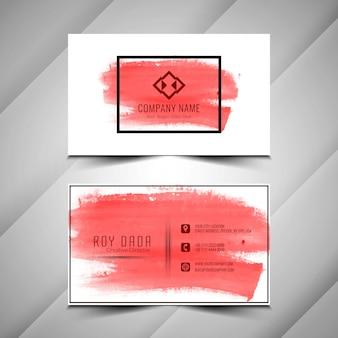 Design de cartão de visita abstrato vermelho aquarela