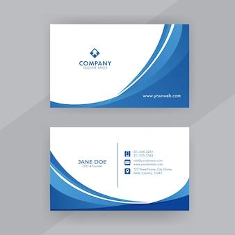 Design de cartão de visita azul e branco com apresentação frente e verso