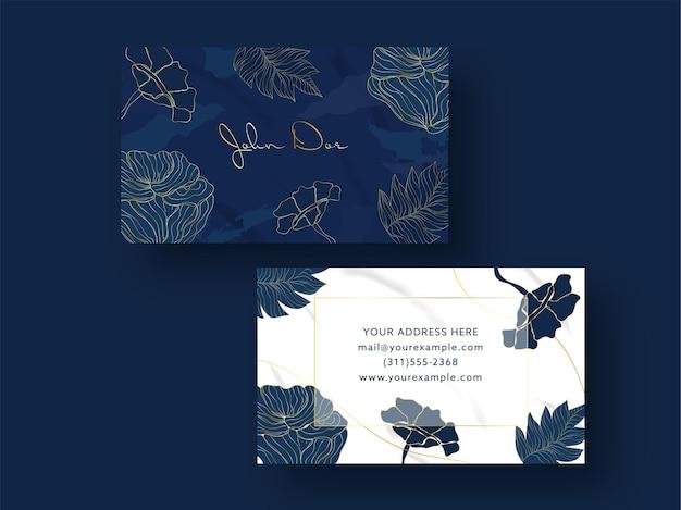 Design de cartão de visita azul e branco com lados duplos