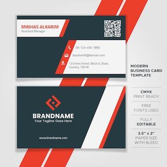Design de cartão de visita branco e vermelho