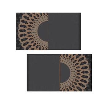 Design de cartão de visita cinza com padrões gregos. cartões de visita de vetor com lugar para o seu texto e ornamentos vintage.