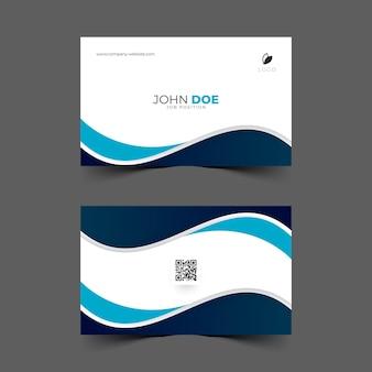 Design de cartão de visita com forma de onda azul