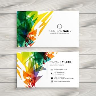 Design de cartão de visita com formas coloridas abstratas