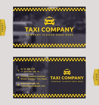 Design de cartão de visita com fundo desfocado. modelo elegante para empresa de táxi.