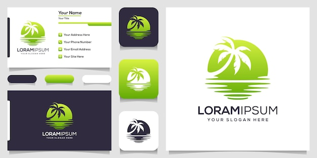Design de cartão de visita com logotipo abstrato da palma e do mar