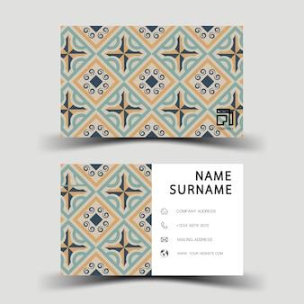 Design de cartão de visita. com padrão abstrato, estilo vintage.