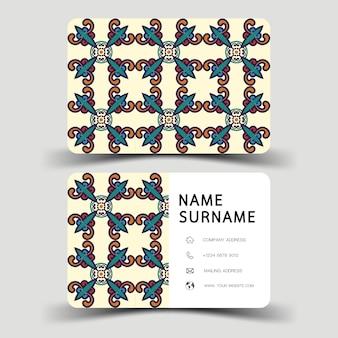 Design de cartão de visita. com padrão abstrato. estilo vintage.