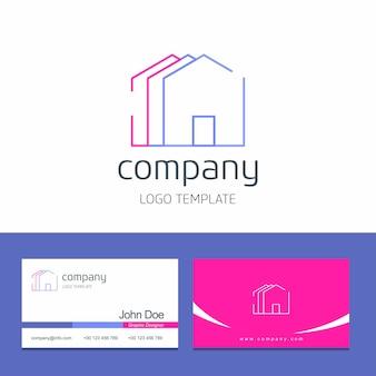 Design de cartão de visita com vetor de logotipo de empresa em casa