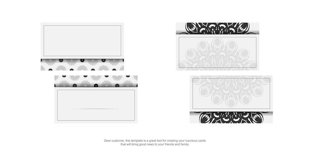 Design de cartão de visita cores brancas com ornamento de mandala. cartões de visita de vetor com lugar para o seu texto e padrões pretos.