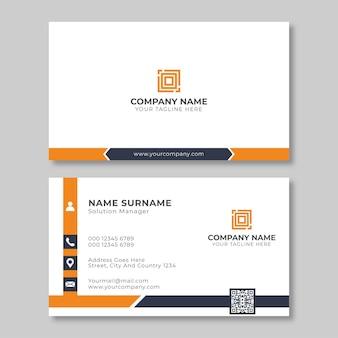 Design de cartão de visita corporativo branco e laranja