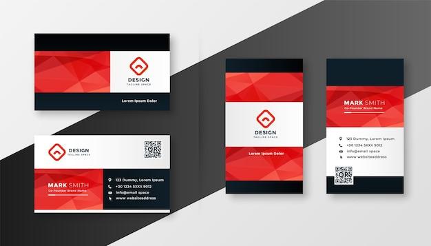 Design de cartão de visita da empresa com tema geométrico vermelho