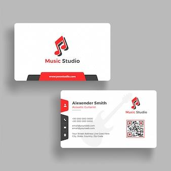 Design de cartão de visita de estúdio de música com apresentação frontal e posterior.