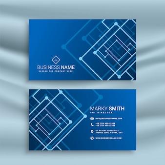 Design de cartão de visita de forma abstrata azul