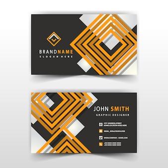 Design de cartão de visita de forma laranja e preto