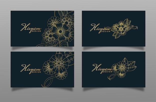 Design de cartão de visita de luxo com design de flor