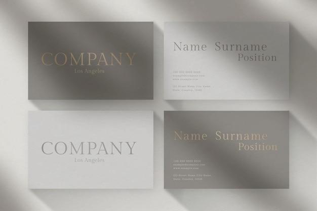 Design de cartão de visita de luxo com vista frontal e traseira