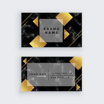Design de cartão de visita de mármore elegante luxo dourado