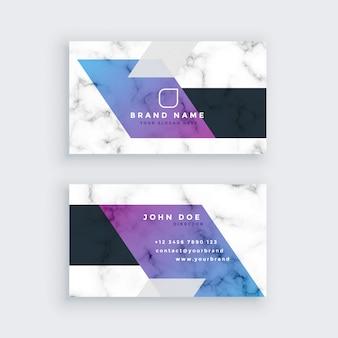 Design de cartão de visita de mármore geométrico elegante