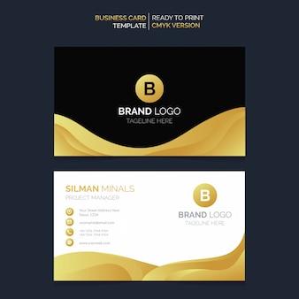 Design de cartão de visita de ouro preto