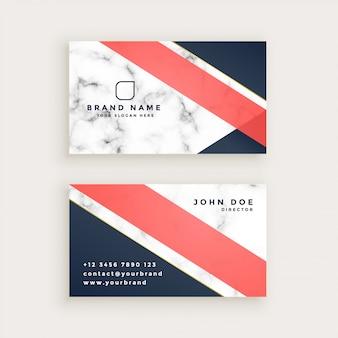 Design de cartão de visita de textura de mármore elegante