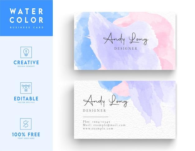 Design de cartão de visita - design de modelo de cartão de visita em aquarela