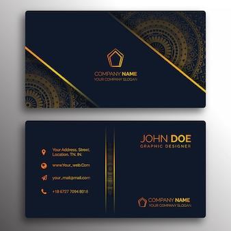 Design de cartão de visita dourado clássico