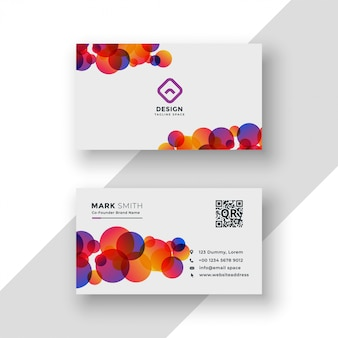 Design de cartão de visita elegante círculos coloridos