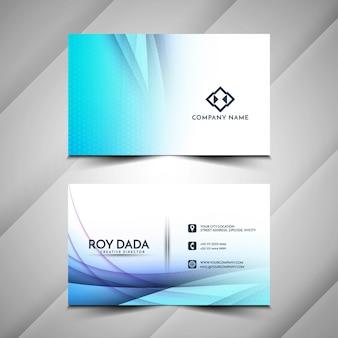 Design de cartão de visita elegante com onda azul