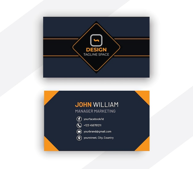 Design de cartão de visita elegante em azul escuro e laranja limpo