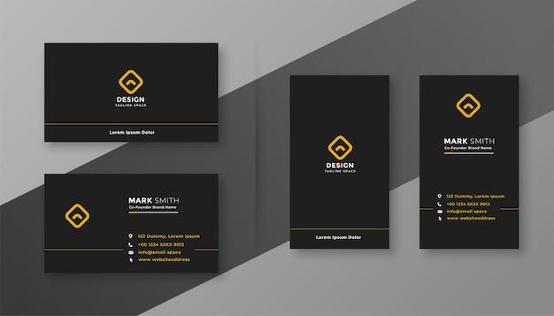 Design de cartão de visita elegante, limpo e simples em preto escuro