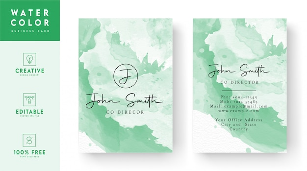 Design de cartão de visita em aquarela abstrato - design de cartão de identificação colorido