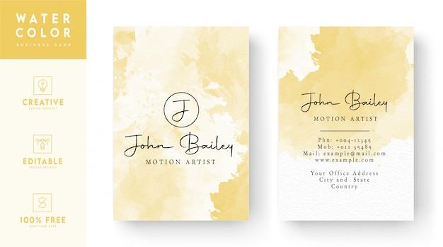 Design de cartão de visita em aquarela - design de carteira de identidade