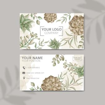 Design de cartão de visita em aquarela suculenta abstrato elegante