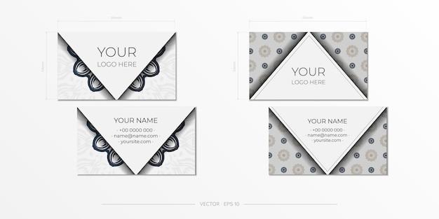 Design de cartão de visita em branco com padrões vintage pretos. cartões de visita de vetor com ornamentos gregos.