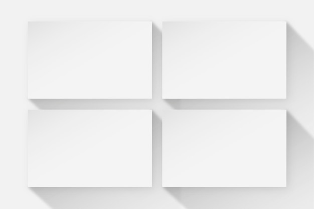 Design de cartão de visita em branco em tom branco com vista frontal e traseira