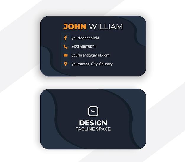 Design de cartão de visita em estilo escuro