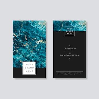 Design de cartão de visita em mármore azul