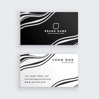 Design de cartão de visita em mármore preto e branco