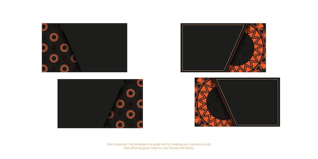 Design de cartão de visita em preto com padrões de laranja. cartões de visita elegantes com um lugar para o seu texto e ornamentos vintage.