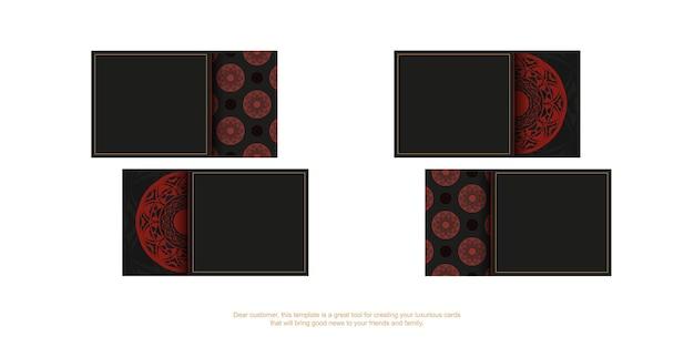 Design de cartão de visita em preto com padrões de vermelhos. cartões de visita de vetor com lugar para o seu texto e ornamentos luxuosos.