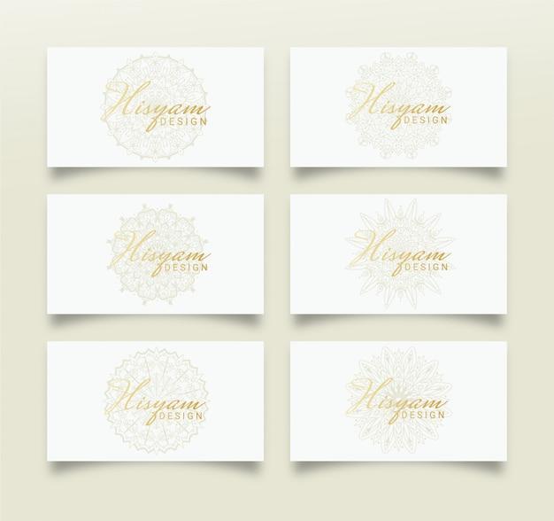 Design de cartão de visita feminino com design de mandala
