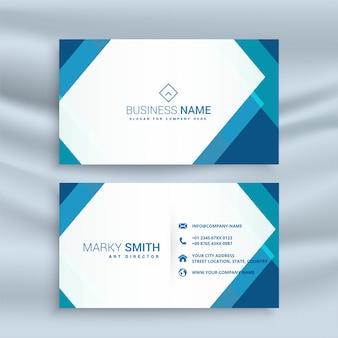 Design de cartão de visita geométrico azul profissional
