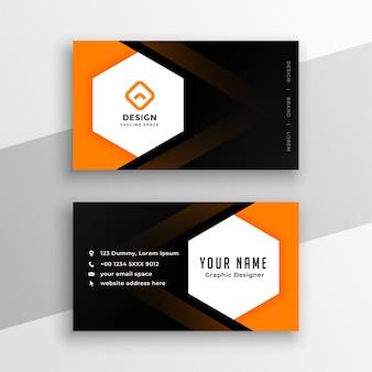 Design de cartão de visita hexagonal em preto e amarelo laranja