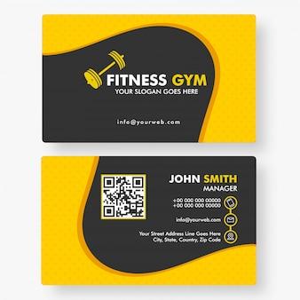 Design de cartão de visita horizontal de modelo de ginásio de fitness