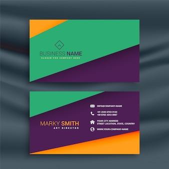 Design de cartão de visita limpo colorido