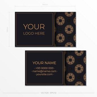Design de cartão de visita luxuoso com ornamento vintage abstrato. pode como plano de fundo e papel de parede romanos. elementos elegantes e clássicos prontos para impressão e tipografia.
