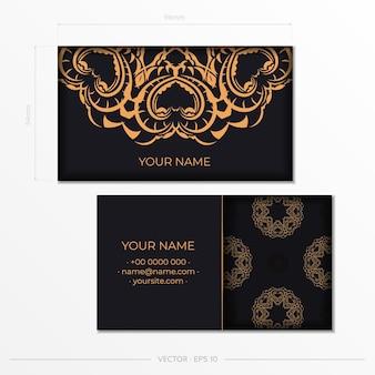 Design de cartão de visita luxuoso com ornamentos indianos vintage. pode como plano de fundo e papel de parede romanos. elementos elegantes e clássicos prontos para impressão e tipografia.