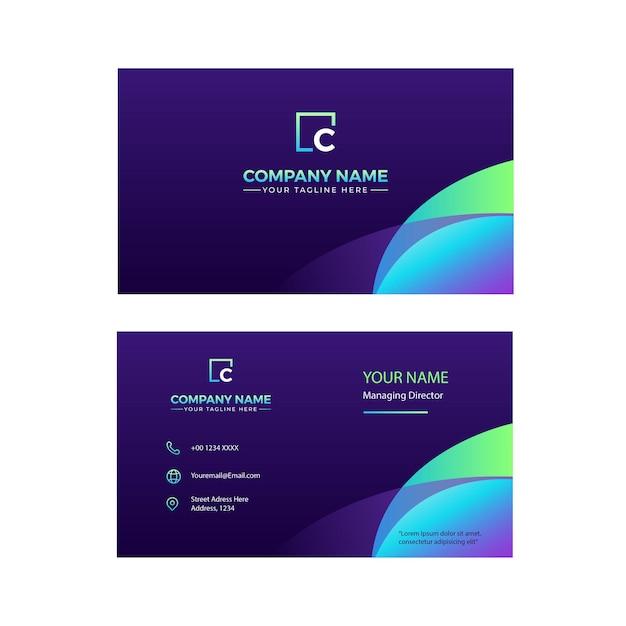 Design de cartão de visita minimalista frente e verso